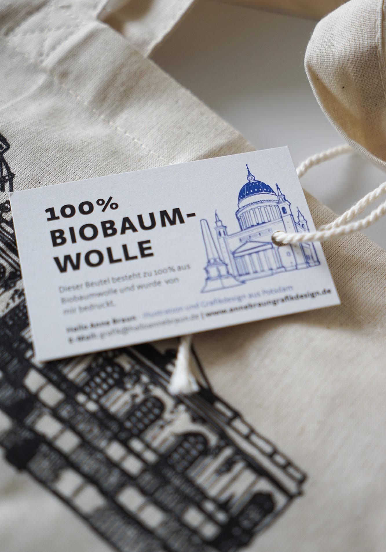 Stoffbeuetel Potsdam Anne Braun Biobaumwolle